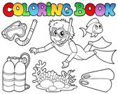 Coloring book with diving theme — Stock Vector