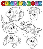 Coloring book with marine animals 3 — Stock Vector