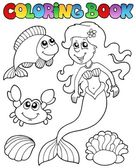 Coloring book with mermaid — Stock Vector