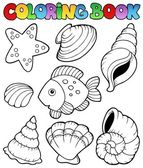 Coloring book with seashells — Stock Vector