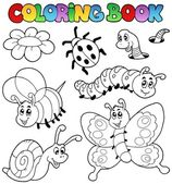 Coloring book with small animals 2 — Stock Vector