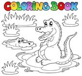 Coloring book with two crocodiles — Stock Vector