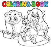 Coloring book with two pandas — Stock Vector