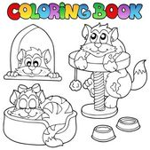 Coloring book with various cats 1 — Stock Vector