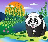 Cute small panda in bamboo forest — Stock Vector