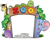 Zoo entrance with various animals — 图库矢量图片