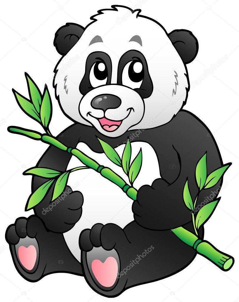 Cartoon panda eating bamboo stock illustration