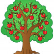 Stock Vector: Cartoon apple tree