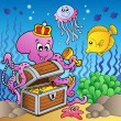 Royalty-Free Stock Vector Image: Cartoon octopus on treasure chest
