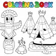 Coloring book with totem - Stock Vector