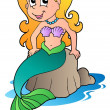 Stock Vector: Cute cartoon mermaid