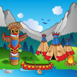 Indian village with totem and canoe - Stok Vektr