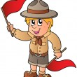 Stock Vector: Scout boy giving flag signal