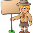 Stock Vector: Scout boy holding wooden board