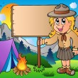 Stock Vector: Scout girl holding board outdoor