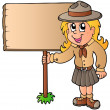Stock Vector: Scout girl holding wooden board