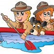 Royalty-Free Stock Vector Image: Wooden boat with scout boy and girl