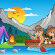Stock Vector: Wooden boat with scouts near camp