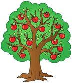 リンゴの木の漫画 — ストックベクタ