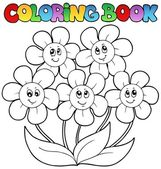 Coloring book with five flowers — Stock Vector