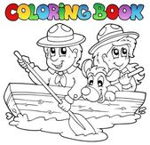 Coloring book with scouts in boat — Stock Vector