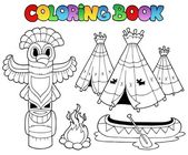 Coloring book with totem — Stock Vector