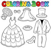 Coloring book with wedding clothes — Stock Vector