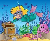 Girl snorkel diver exploring sea — Stock Vector