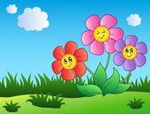 Three cartoon flowers on meadow — Stock Vector