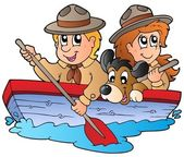 Wooden boat with scout boy and girl — Stock Vector
