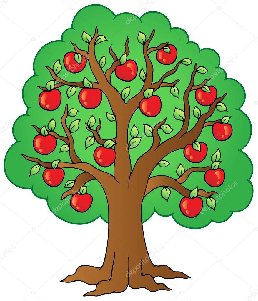 Картинка дерево с яблоками раскраска