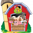 Barn with various farm animals — Stok Vektör