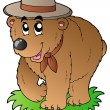 Cartoon happy scout bear - Stock Vector