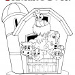 Royalty-Free Stock Vector Image: Coloring book with barn and animals