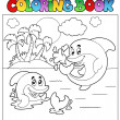 Coloring book with dolphins 2 — Stock Vector