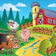 Country scene with red barn 1 - Stock vektor