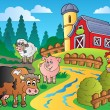 Country scene with red barn 1 - Imagen vectorial