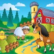 Country scene with red barn 2 — Imagen vectorial