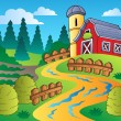 Country scene with red barn 4 — Stock Vector