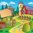 Stock Vector: Country scene with red barn 5