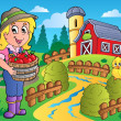 Country scene with red barn 7 - Stock vektor