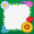 Grass frame with flowers 2 - Stock vektor