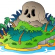 Pirate skull island - Stock Vector