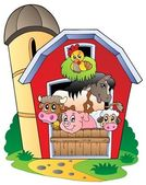 Barn with various farm animals — Vector de stock