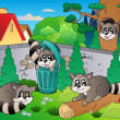 Backyard with cute racoons — Stock Vector
