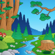 Stock Vector: Cartoon forest landscape 1
