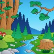 Cartoon forest landscape 1 — Imagen vectorial