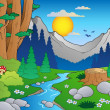 Cartoon forest landscape 2 — Vector de stock