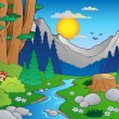 Cartoon forest landscape 2 — Stock vektor
