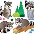 Cartoon racoons collection - Stockvektor